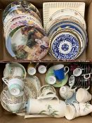 COLLECTOR'S WALL PLATES, mixed tea and coffeeware, mid-century and later ETC (within 2 boxes)