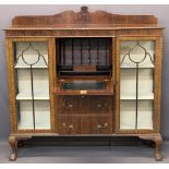 QUALITY MAHOGANY 'SIDE BY SIDE' CHINA DISPLAY CABINET - with central bureau and lower drawers,