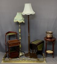 REPRODUCTION FURNITURE PARCEL, 8 ITEMS - including a brass fire fender, onyx effect and brass