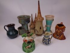 MIXED POTTERY & STUDIO WARE - including a Castle table lamp, Aller Vale jug, Sylvac character jug
