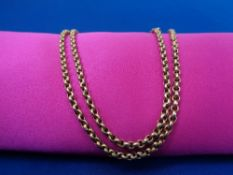 9CT GOLD BELCHER STYLE NECKLACE - with base metal clasp, 48cms L, 6.8grms