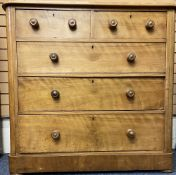 VICTORIAN SATINWOOD CHEST - two short over three long drawers having turned wooden knobs, 112cms