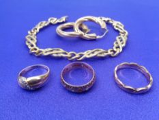9CT GOLD JEWELLERY, 5 ITEMS - a pair of roped twist style earrings, continental crossover link