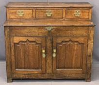ANTIQUE OAK NEATLY PROPORTIONED SIDEBOARD BASE (EX COFFER CONVERSION) - the upper section with three