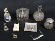 INDIAN WHITE METAL TRAY, silver top bottles, other white metalware and a carved ivory calling card