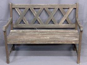 GARDEN BENCH - wooden with lattice effect back, 90cms H, 119cms W, 60cms D