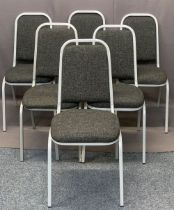 MODERN STACKING LIGHT WEIGHT CHAIRS (6), Tungsten framed in good clean condition, 85cms H, 40cms