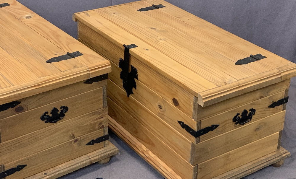 MODERN PINE IRON BANDED BLANKET CHESTS, A PAIR - 46cms H, 92cms max W, 51cms max D - Image 3 of 3