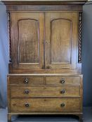 LATE 19TH CENTURY PRESS CUPBOARD - upper section with twist columns to the sides, two door and