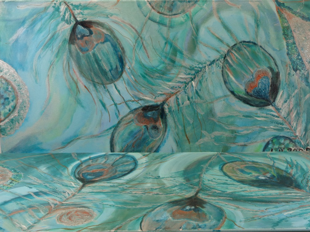 LIL 2009 oils on canvas (a pair) - titled verso 'Feather Frenzy', on stretchers, 60 x 120cms