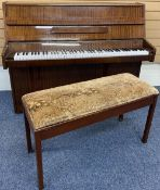 B SQUIRE MAHOGANY CASED PIANO - supplied by Crane & Sons Ltd and an upholstered top duet piano