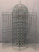 STYLISH DOME TOP WROUGHT IRON WINE RACK WITH DOUBLE DOORS, 147cms overall H, 48cms approx diameter