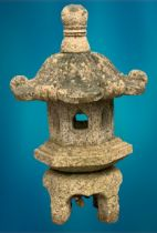 GARDEN STONEWARE - reconstituted ornamental pagoda, five section, 65cms H