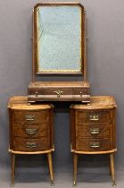 ANTIQUE STYLE WALNUT DRESSING MIRROR and two bedside chests, the mirror with swing action, brass