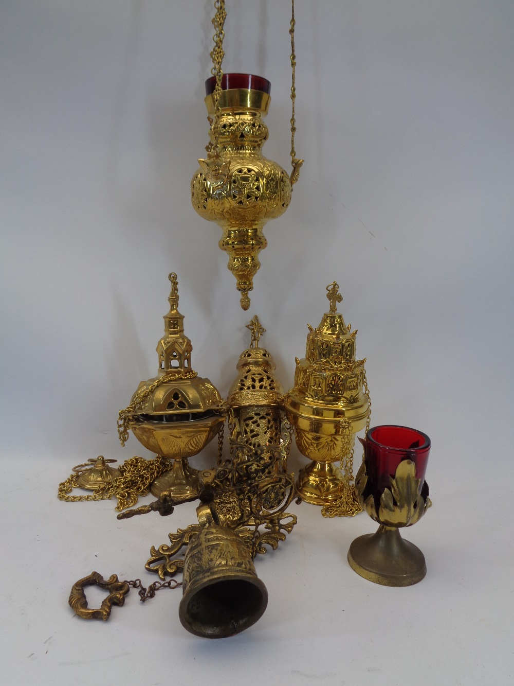 EASTERN TYPE ECCLESIASTICAL INCENSE BURNING BRASSWARE - a mixed selection