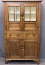 ANTIQUE OAK FARMHOUSE CUPBOARD - of good colour, peg joined construction with twin upper glazed