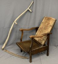 VINTAGE RECLINING ELBOW CHAIR - studded and upholstered back, 100cms H, 51cms W, 47cms D and an