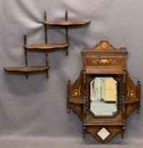 EDWARDIAN INLAID ROSEWOOD MIRRORED WALL SHELF & ONE OTHER, 76cms H, 53.5cms W