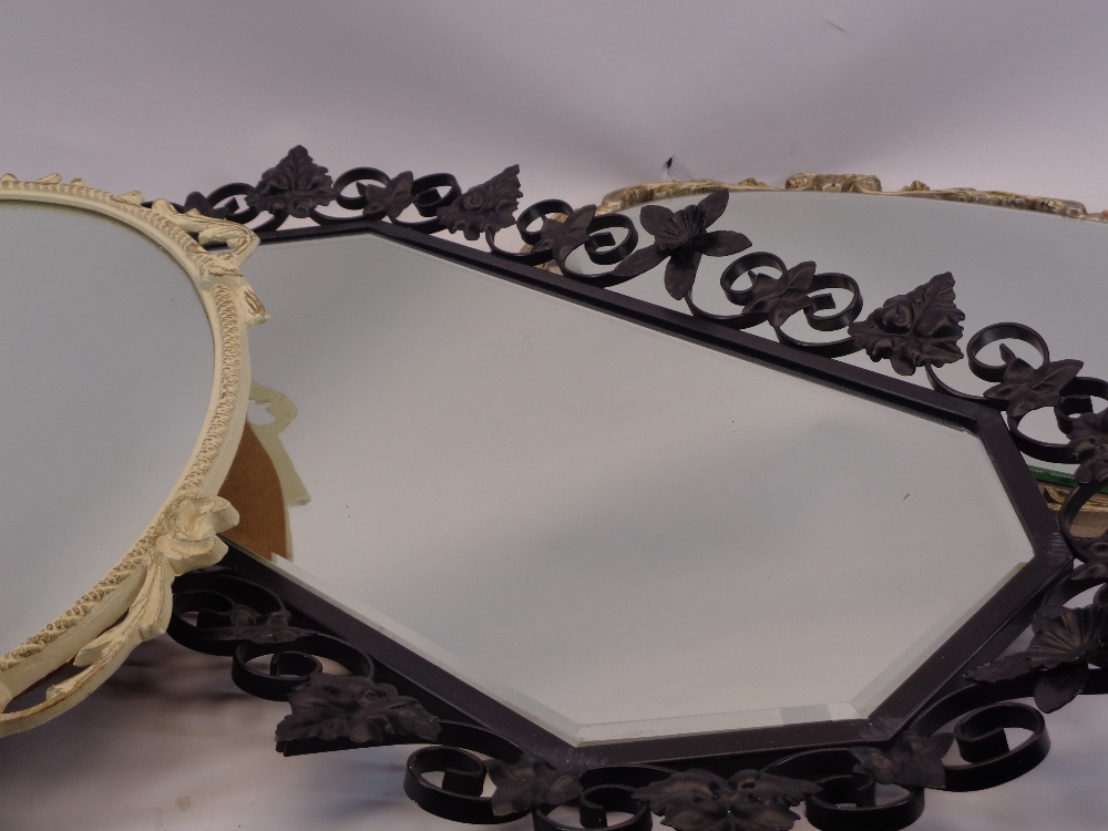 VINTAGE WALL MIRRORS (3) - to include a gilt framed example, French style painted metal and a