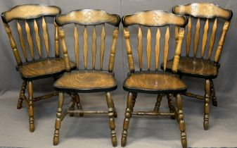 SET OF FOUR OAK EFFECT FARMHOUSE CHAIRS - spindle back with solid seats on turned supports and