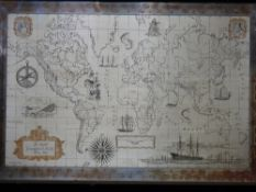 JOHN PINCHES 'THE ROYAL GEOGRAPHICAL SOCIETY SILVER MAP' - London 1977, framed etched map of the