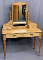 VINTAGE DRESSING TABLE - light wood with upper drawers and mirror, 153cms H, 108cms W, 54cms D