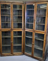 ANTIQUE BOOKCASE CUPBOARDS - two sections, both with glazed doors and interior shelves, 192cms H,