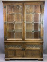 OLD CHARM TWO DOOR DISPLAY CABINET - with leaded glazed panels and a two door base cupboard,