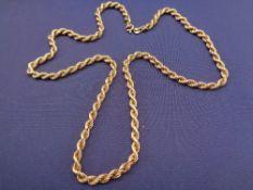 9CT GOLD DOUBLE TWIST NECKLACE, 62cms L, 20.2grms