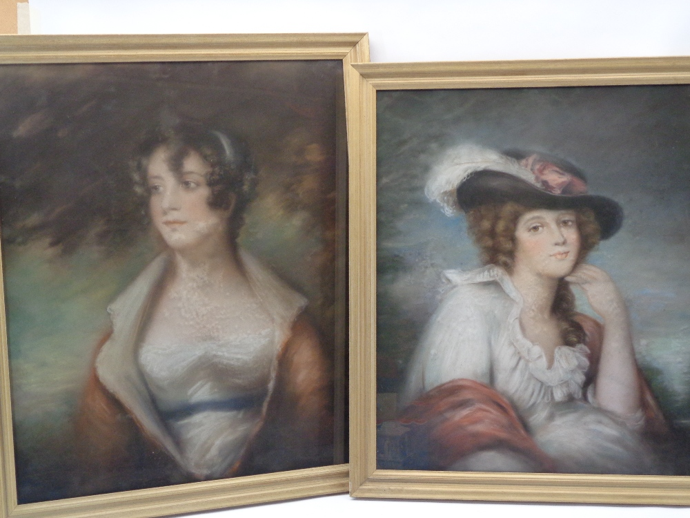 ENGLISH SCHOOL pastel study portraits (2) - classically styled young women, half length, in period