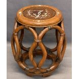CHINESE MOTHER OF PEARL INLAID BARREL SHAPE OCCASIONAL TABLE - 46cms H, 38cms max diameter