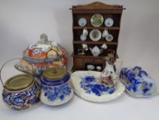 VICTORIAN TABLEWARE, biscuit barrels, later miniature dresser and contents, Flo Blue cheese dish and