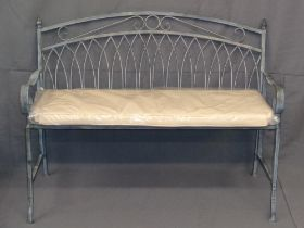 GARDEN FURNITURE - metalware folding bench with cushion, 90cms H, 106cms W, 46cms D (open)