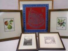 FIVE FRAMED PICTURES & PRINTS including one depicting The Old Town of Dubrovnik, signed and dated