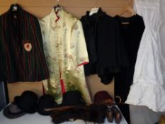 VINTAGE LADY'S & GENT'S CLOTHING - to include a green and red striped blazer, embroidered silk