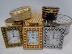 HALCYON DAYS ENAMELS TRINKET BOXES & CLOCKS with a circular porcelain box by Limoges