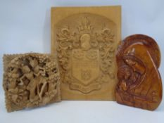 WOOD CARVINGS, 3 ITEMS - a Madonna and Child, 33cms H, a Balinese openwork carving of two dancing