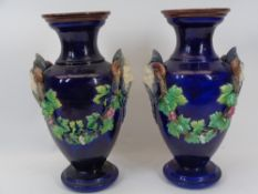 CONTINENTAL MAJOLICA STYLE VASES, A PAIR - Cobalt Blue ground with Satyr/Bacchus mask handles with