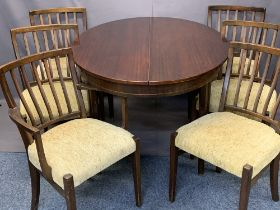 MAHOGANY EXTENDING OVAL TOP DINING TABLE & SIX SPINDLE BACK DINING CHAIRS (5 + 1) - 75cms H,