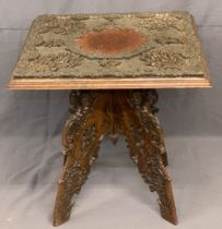 EASTERN SQUARE TOP CARVED OCCASIONAL TABLE - the base folding X frame, 68cms H, 68cms W, 68cms D