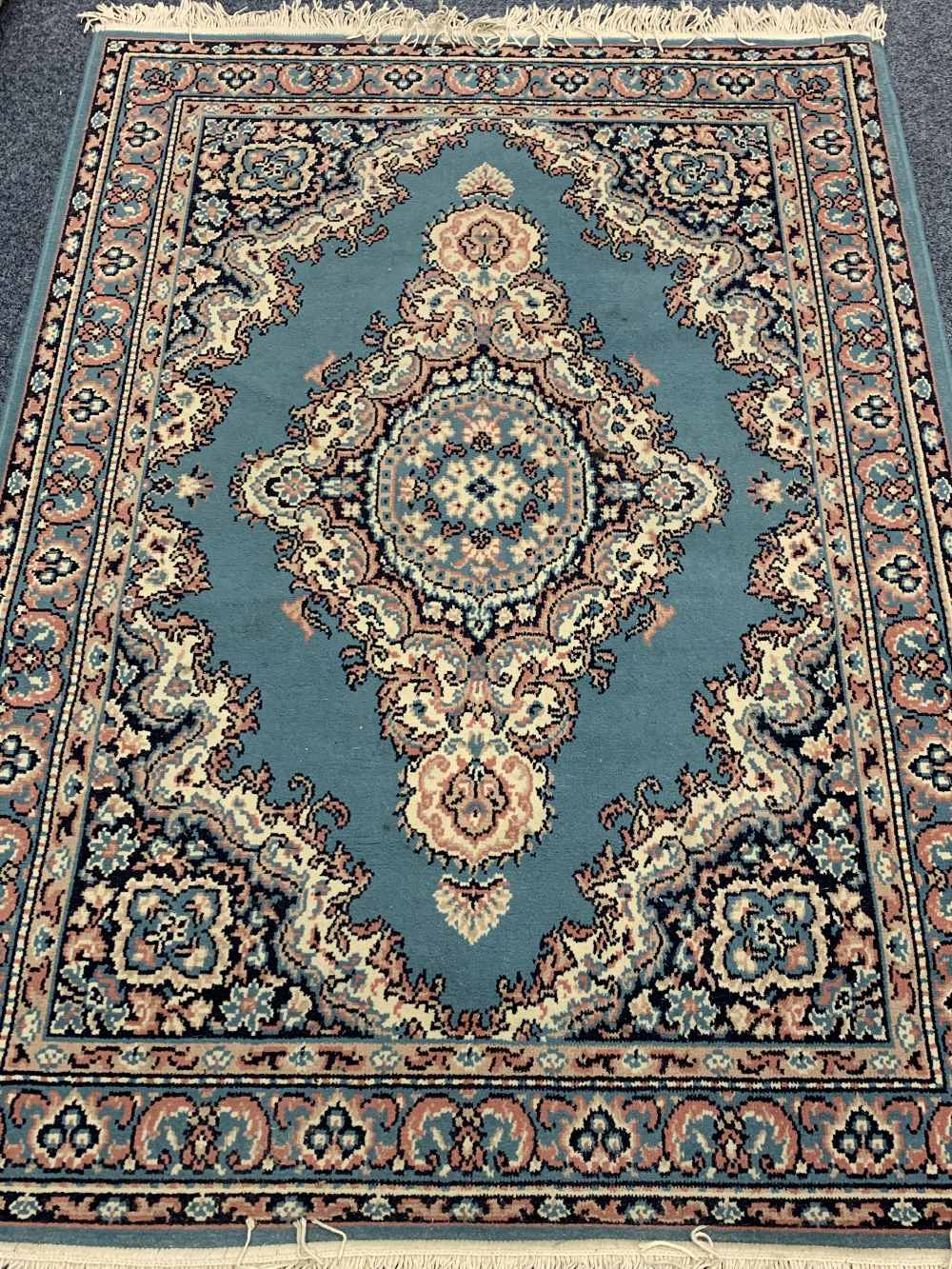 INDIAN 100% WOOL & OTHER BLUE GROUND CARPETS (2) - the Indian example with central repeating block - Image 2 of 5