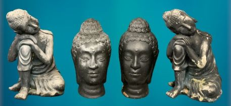 GARDEN ORNAMENTS - Black composite Buddhist type garden figurines and heads, 2 + 2, 45 and 41cm