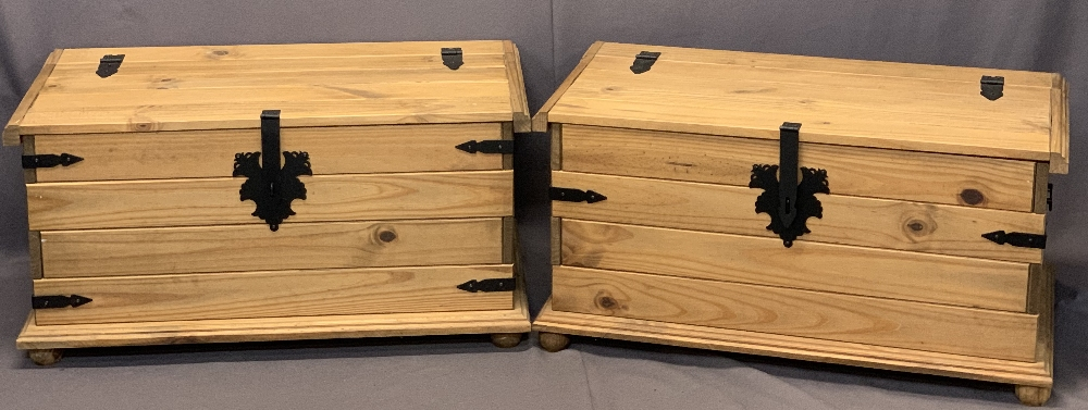 MODERN PINE IRON BANDED BLANKET CHESTS, A PAIR - 46cms H, 92cms max W, 51cms max D