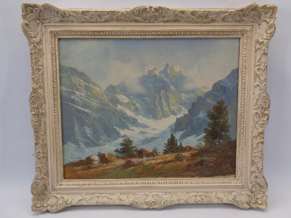E EMLEN? oil on canvas - Alpine scene, 39 x 49cms
