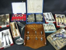 BOXED EPNS CUTLERY - a mixed selection with a quantity of collector's spoons ETC