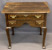 VINTAGE OAK LOWBOY - having a shaped top over one long and two short crossbanded drawers with