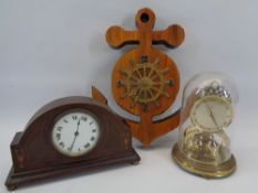 VINTAGE & LATER CLOCKS (3) - includes an inlaid mahogany Edwardian example, ship's wheel on anchor