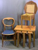 MID-CENTURY TEAK STYLE NEST OF FOUR FOLDING COFFEE TABLES, 56cms H, 62cms W, 42cms D, polished