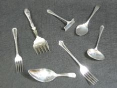 SILVER CUTLERY - a parcel to include a Georgian silver caddy spoon with pokerwork pattern into the