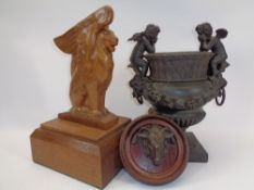 MIXED COLLECTABLES GROUP, 3 ITEMS - a stylised winged lion carved in oak on a stepped base, 35cms H,